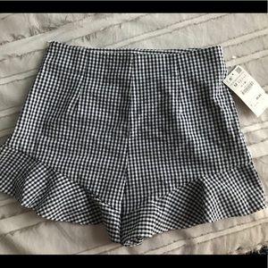 Navy gingham ruffle shorts- ZARA